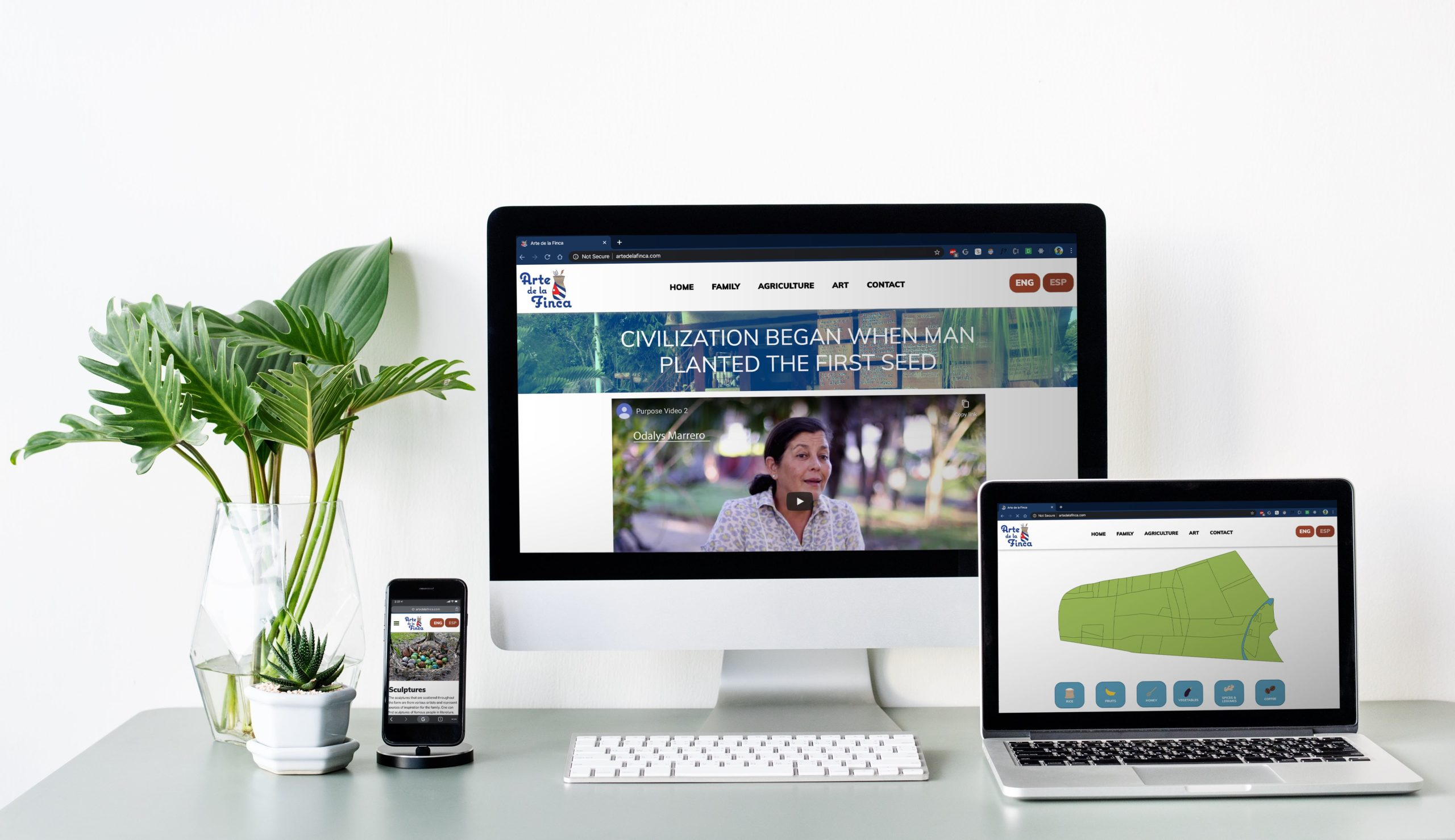 A website mockup being shown on an iMac, a MacBook, and an iPhone on a silver desk next to a large green plant.